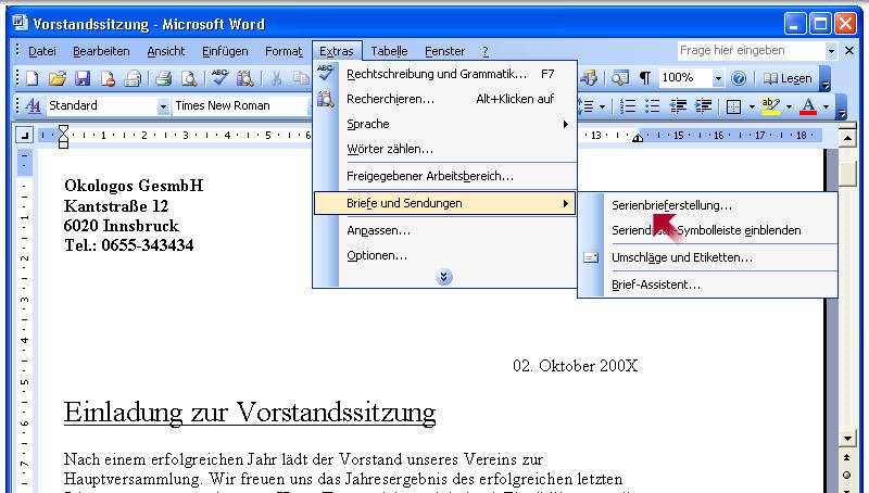 Briefe Und Sendungen Word 2010 : Word grundlagen serienbriefe erstellen